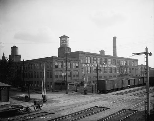 ca. 1910 of the Cadillac main assembly plant at 450 Amsterdam Street and Cass Avenue