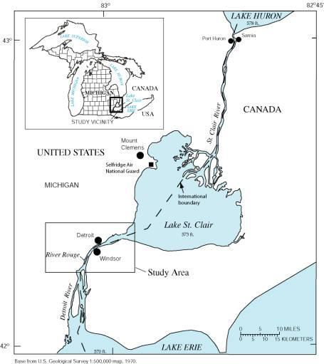 Detroit between 2 lakes