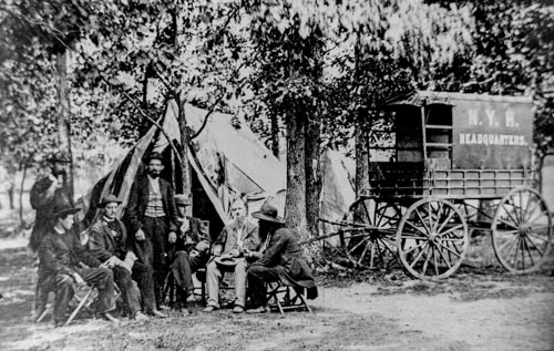 Civil WarA New York Herald Tribune Wagon and Reporters in the Field