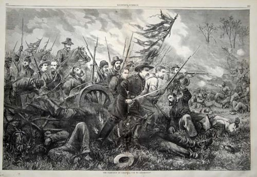 Civil WarThomas Nast in 1864. The image is captioned, %22The Campaign in Virginia, - On To Richmond!%22