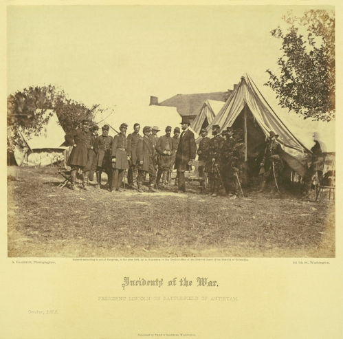 President Lincoln on the Battle-field of Antietam. October, 1862. Albumen print photograph by Alexander Gardner.Gardner_v1_pl23