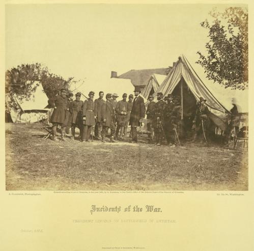 President Lincoln on the Battle-field of Antietam. October, 1862. Albumen print photograph by Alexander Gardner.Gardner_v1_pl23