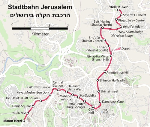 Jerusalem light rail map SM