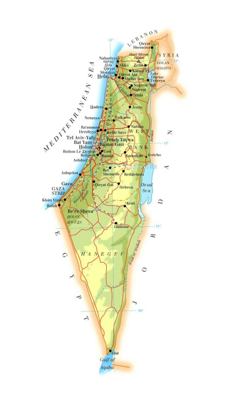 detailed-elevation-map-of-israel-with-roads-cities-and-airports