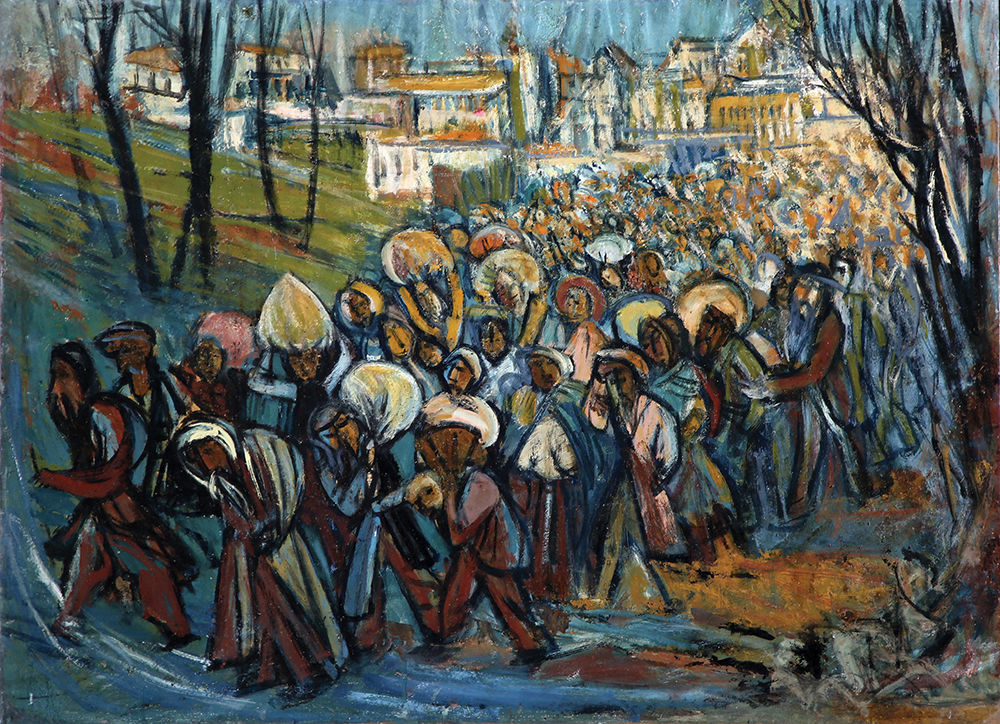 Bidspirit auction | Marcel Janco $20,000.00* Marcel Janco, - 1895 - 1984. Refugees, 1939,, Oil on cardboard laid down on canvas.jpg