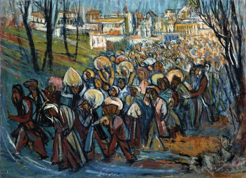 Bidspirit auction | Marcel Janco $20,000.00* Marcel Janco, - 1895 - 1984. Refugees, 1939,, Oil on cardboard laid down on canvas.jpg